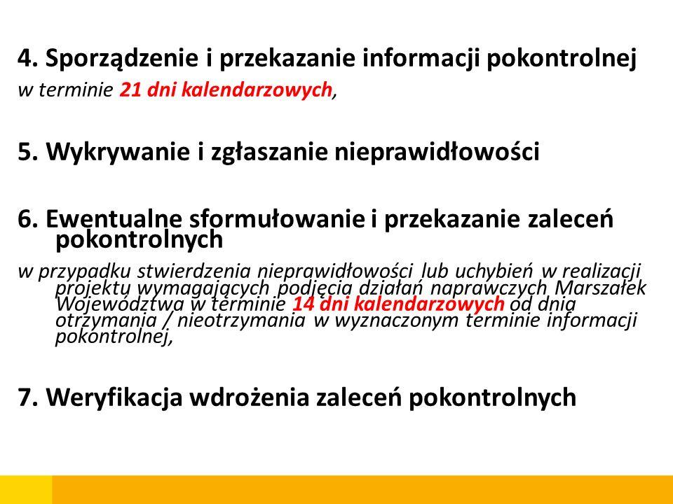 4. Sporządzenie i przekazanie informacji pokontrolnej