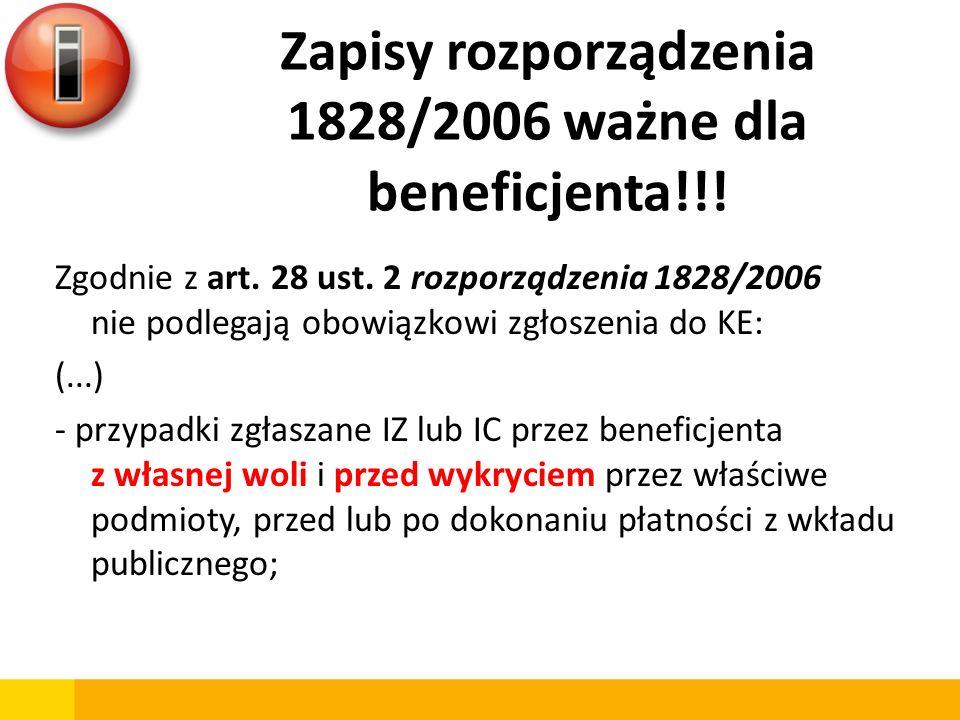 Zapisy rozporządzenia 1828/2006 ważne dla beneficjenta!!!
