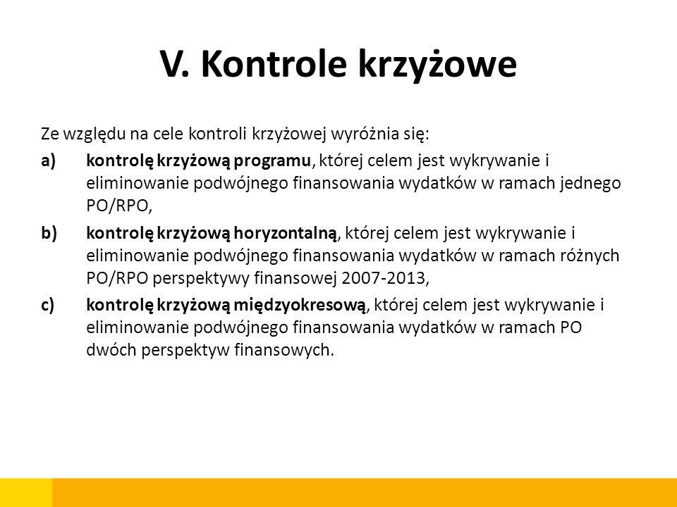 V. Kontrole krzyżoweZe względu na cele kontroli krzyżowej wyróżnia się: