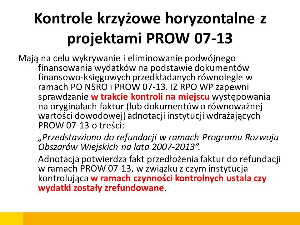 Kontrole krzyżowe horyzontalne z projektami PROW 07-13