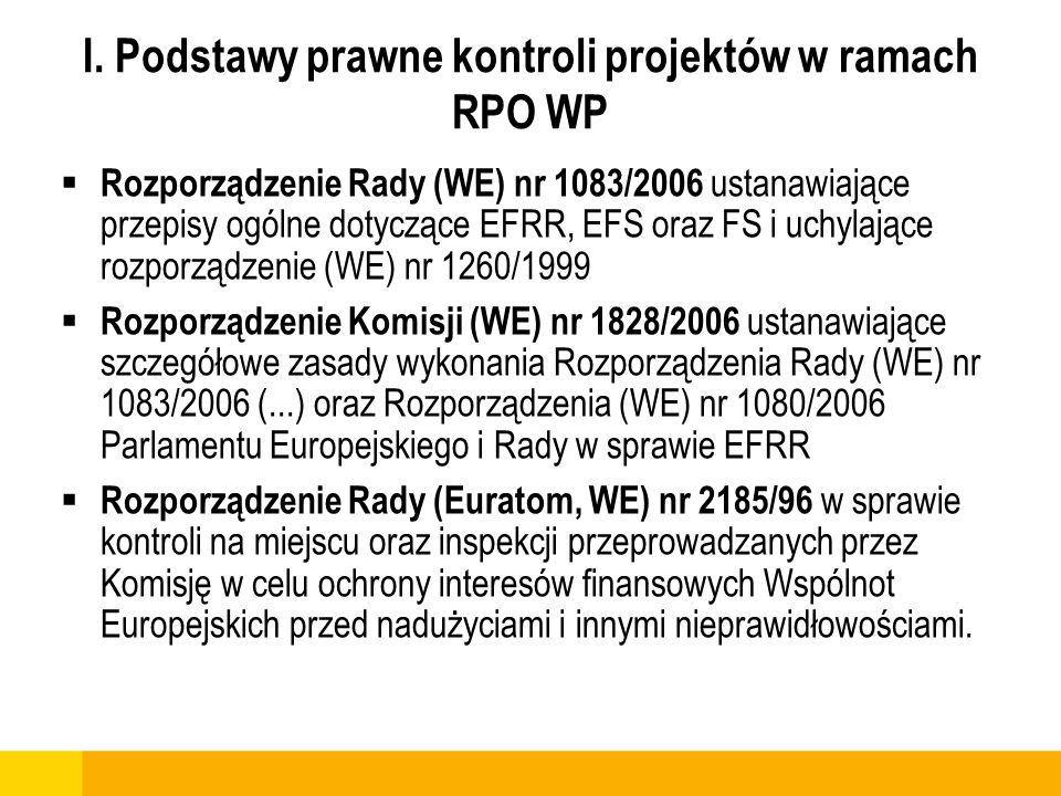 I. Podstawy prawne kontroli projektów w ramach RPO WP