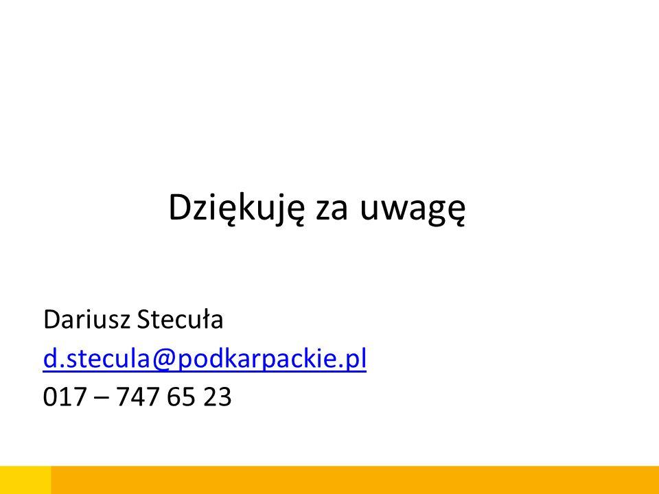 Dariusz Stecuła d.stecula@podkarpackie.pl 017 – 747 65 23