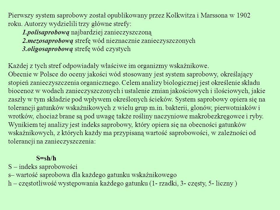 Pierwszy system saprobowy został opublikowany przez Kolkwitza i Marssona w 1902 roku. Autorzy wydzielili trzy główne strefy: