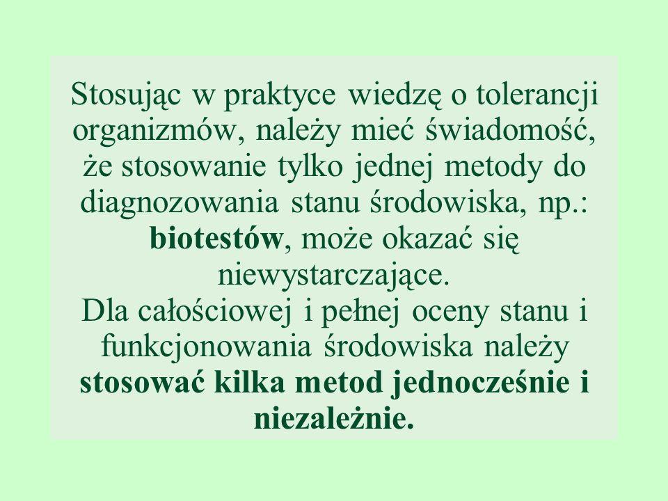 Stosując w praktyce wiedzę o tolerancji organizmów, należy mieć świadomość, że stosowanie tylko jednej metody do diagnozowania stanu środowiska, np.: biotestów, może okazać się niewystarczające.