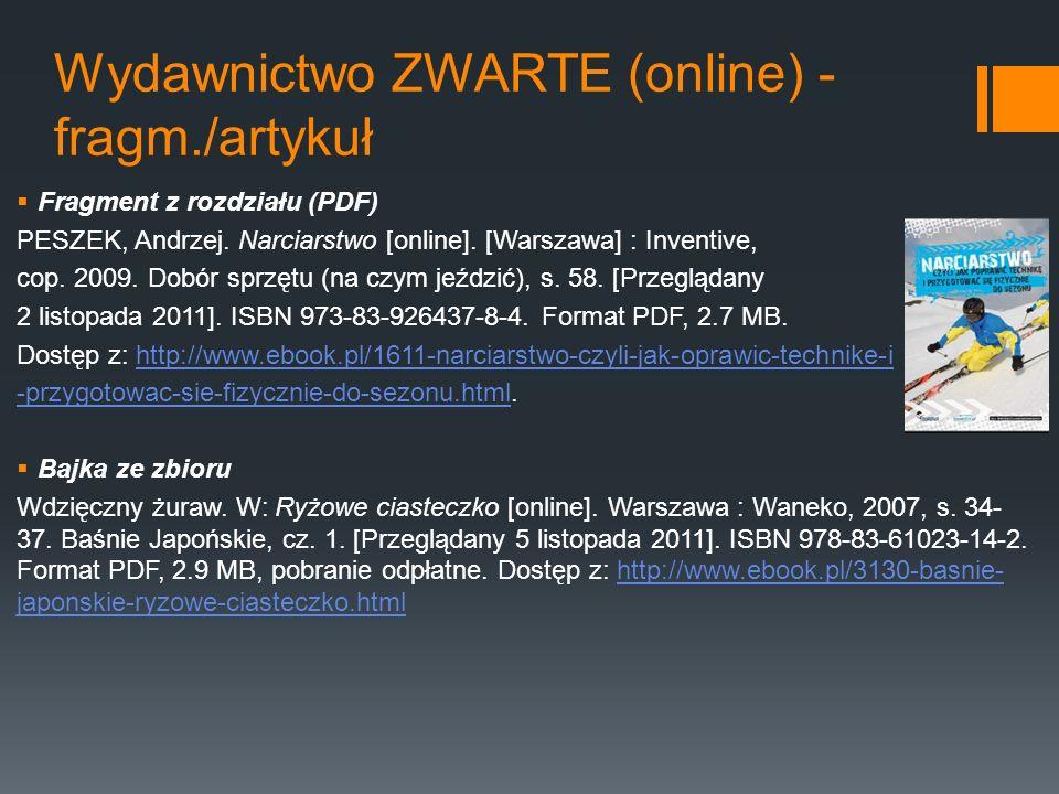 Wydawnictwo ZWARTE (online) - fragm./artykuł