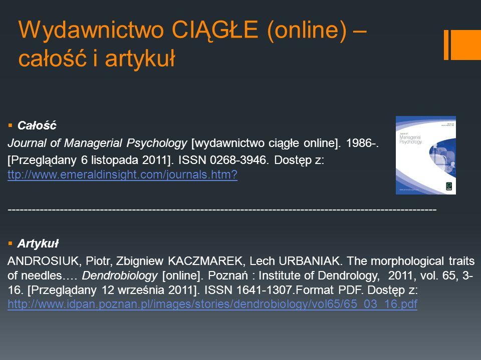 Wydawnictwo CIĄGŁE (online) – całość i artykuł