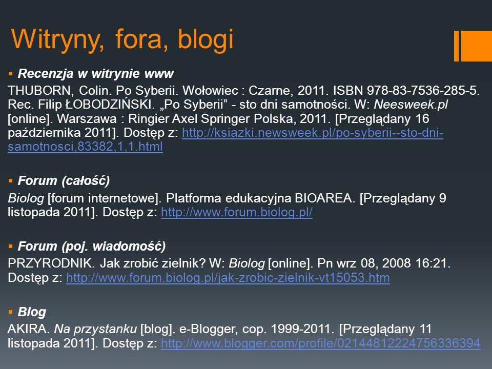 Witryny, fora, blogi Recenzja w witrynie www
