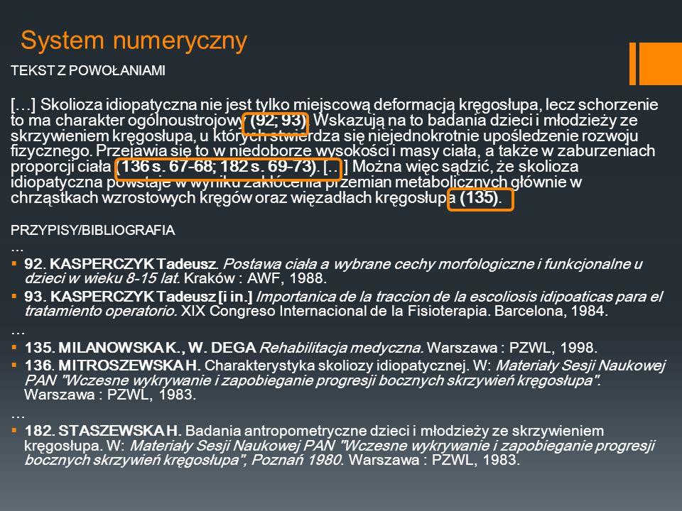 System numeryczny TEKST Z POWOŁANIAMI.