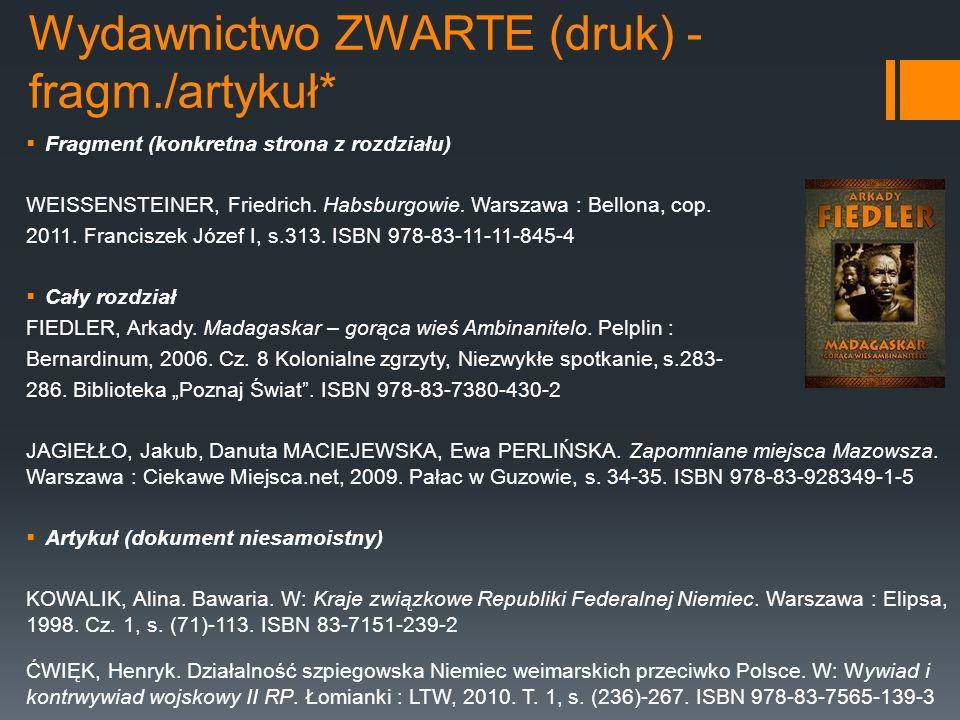 Wydawnictwo ZWARTE (druk) - fragm./artykuł*