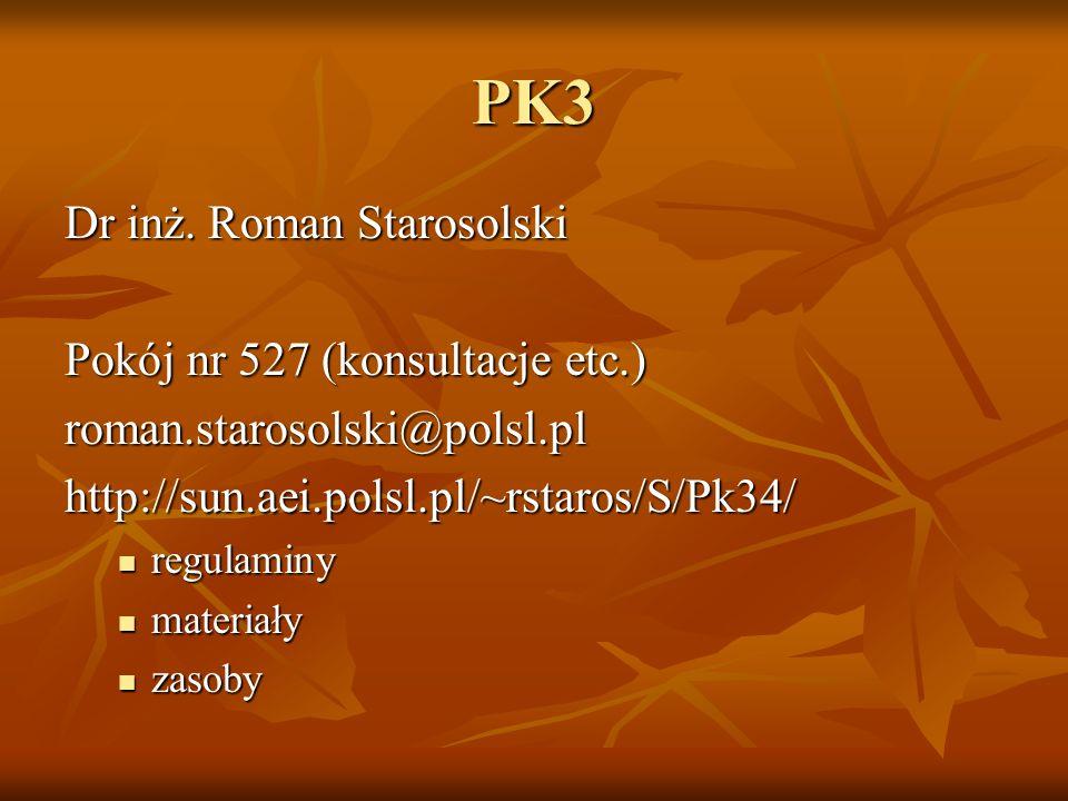 PK3 Dr inż. Roman Starosolski Pokój nr 527 (konsultacje etc.)