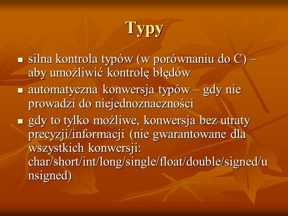 Typy silna kontrola typów (w porównaniu do C) – aby umożliwić kontrolę błędów. automatyczna konwersja typów – gdy nie prowadzi do niejednoznaczności.
