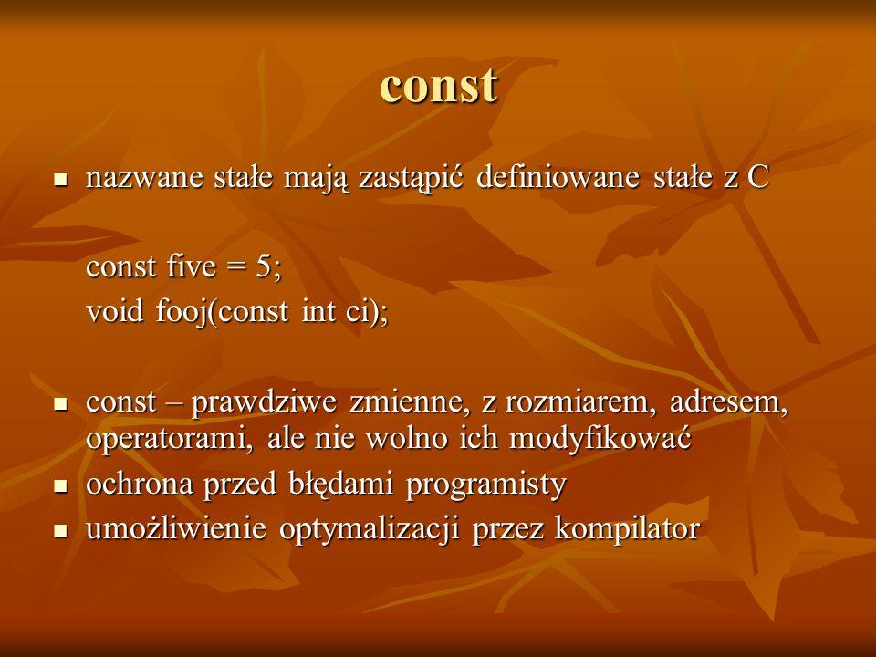const nazwane stałe mają zastąpić definiowane stałe z C