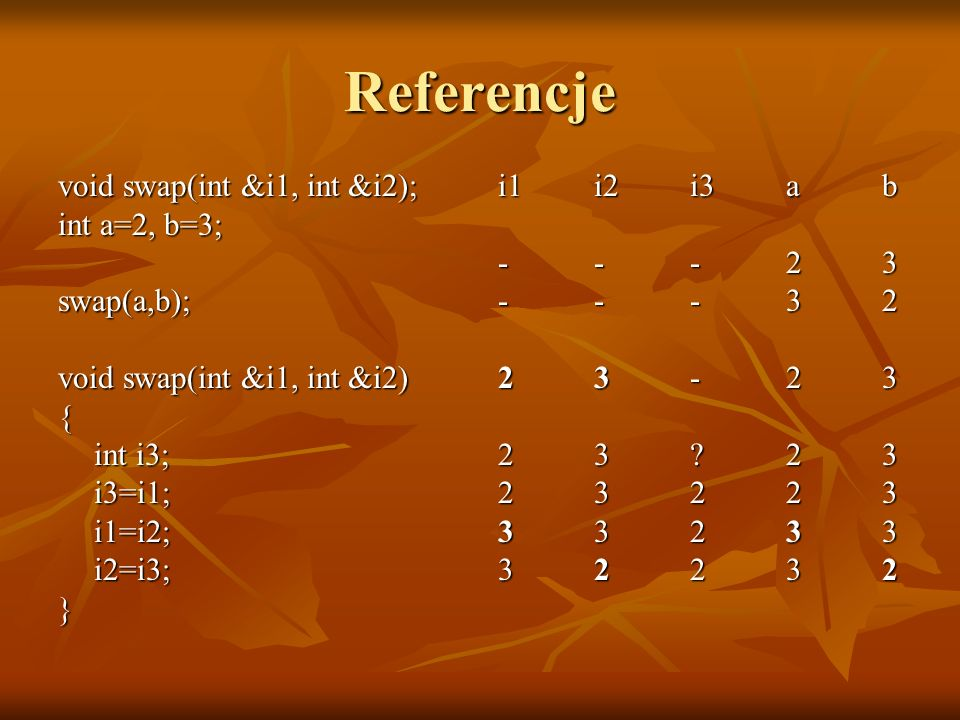 Referencje void swap(int &i1, int &i2); int a=2, b=3; swap(a,b);