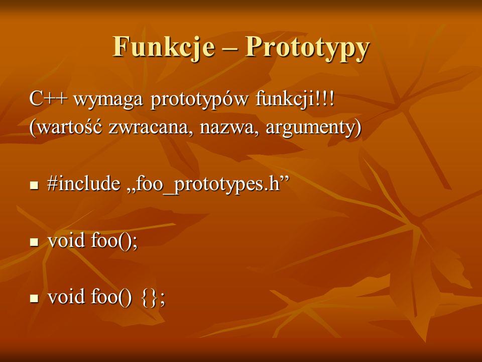 Funkcje – Prototypy C++ wymaga prototypów funkcji!!!