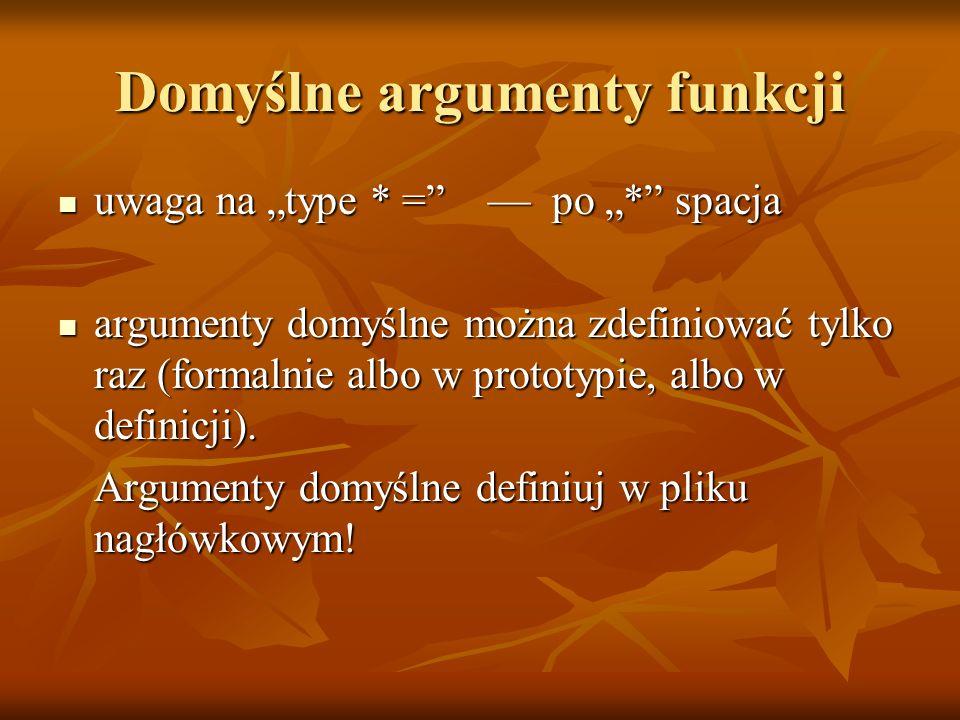 Domyślne argumenty funkcji