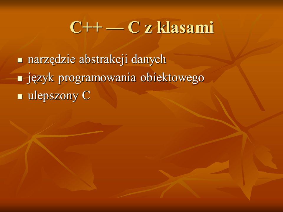 C++ — C z klasami narzędzie abstrakcji danych