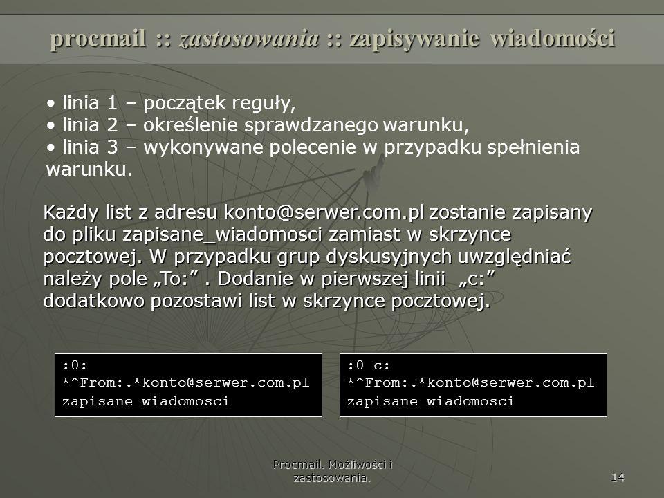 procmail :: zastosowania :: zapisywanie wiadomości