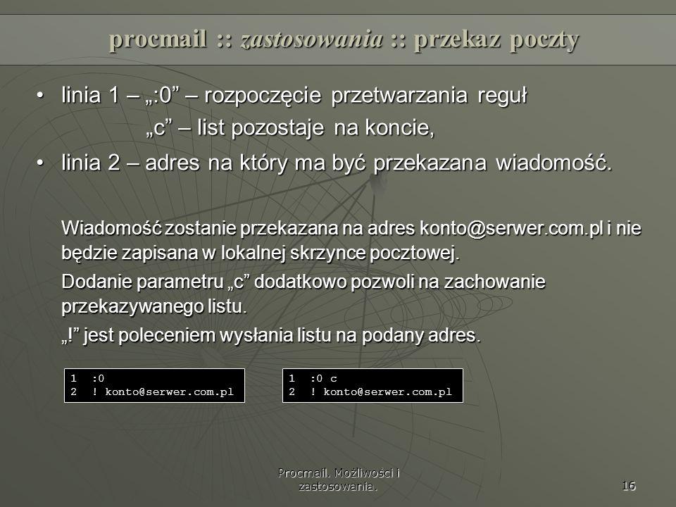 procmail :: zastosowania :: przekaz poczty