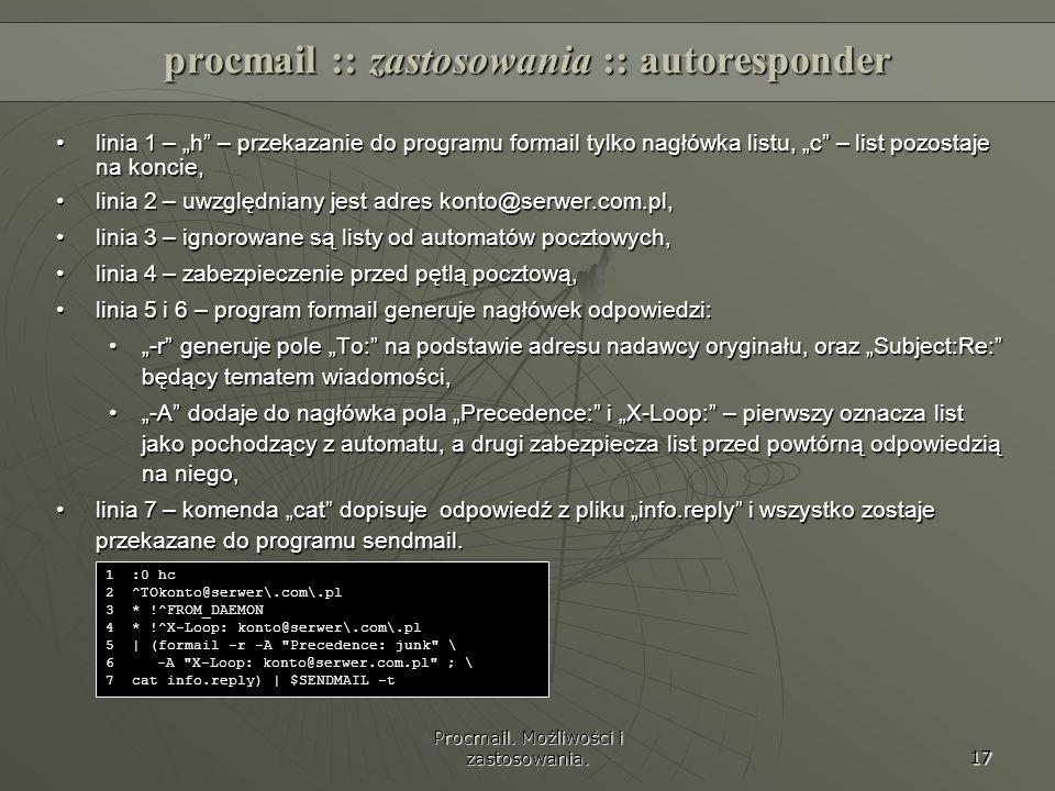 procmail :: zastosowania :: autoresponder