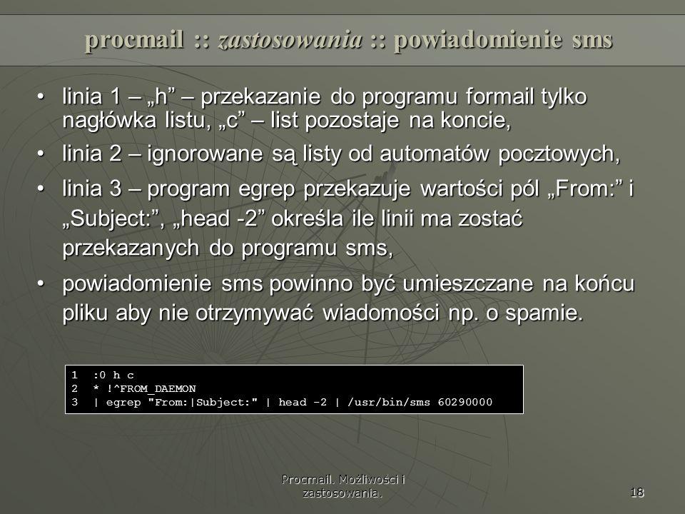 procmail :: zastosowania :: powiadomienie sms