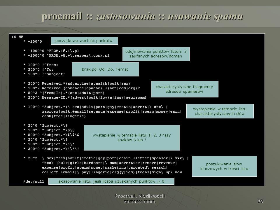 procmail :: zastosowania :: usuwanie spamu