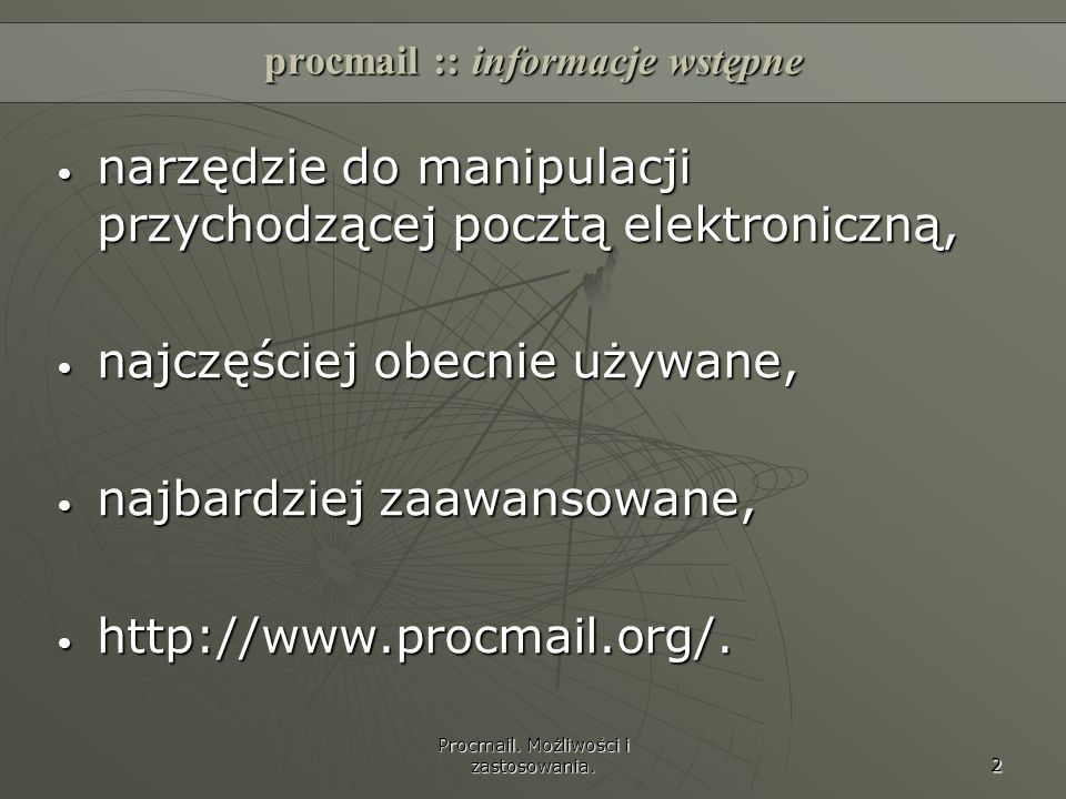 procmail :: informacje wstępne