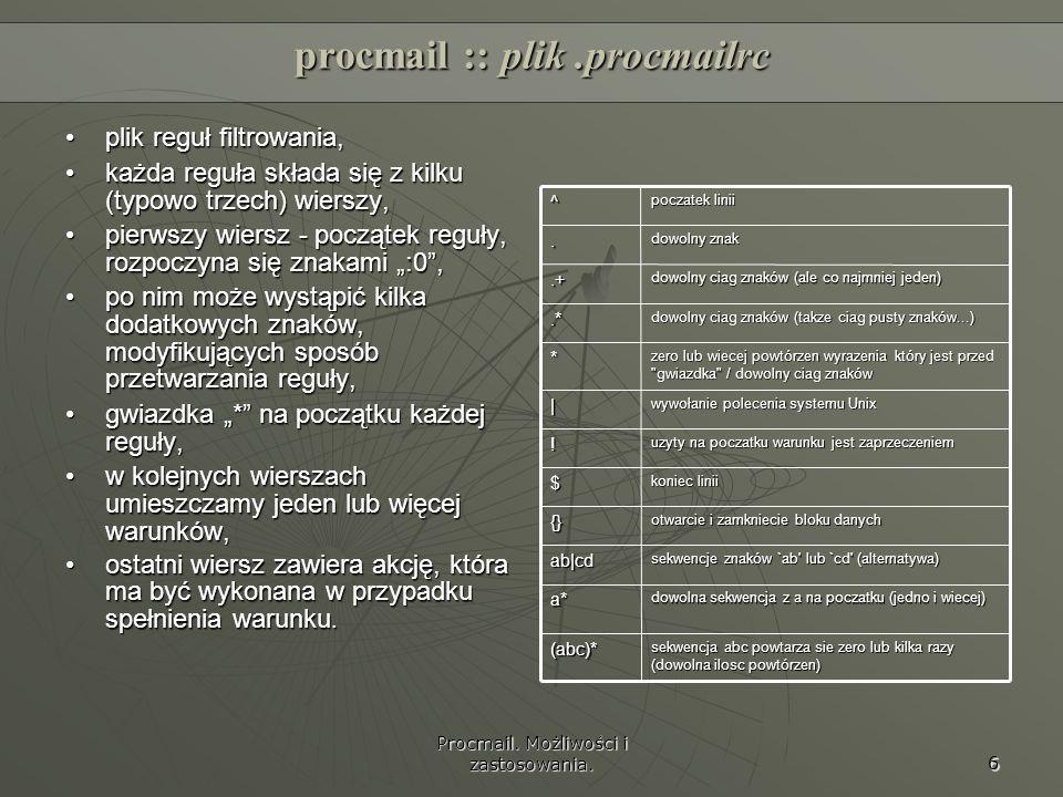 procmail :: plik .procmailrc