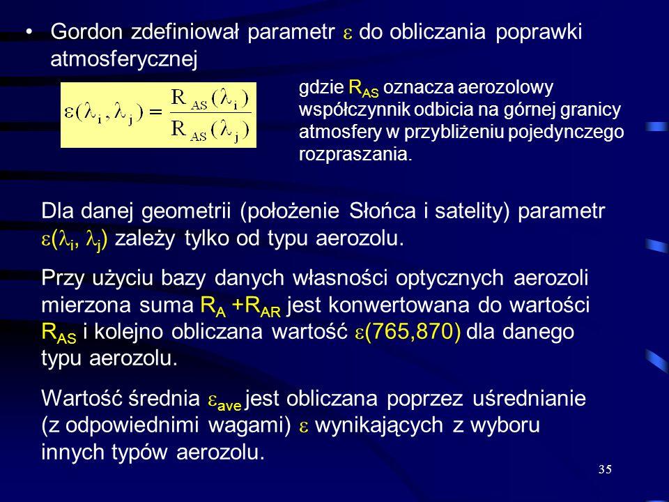 Gordon zdefiniował parametr  do obliczania poprawki atmosferycznej