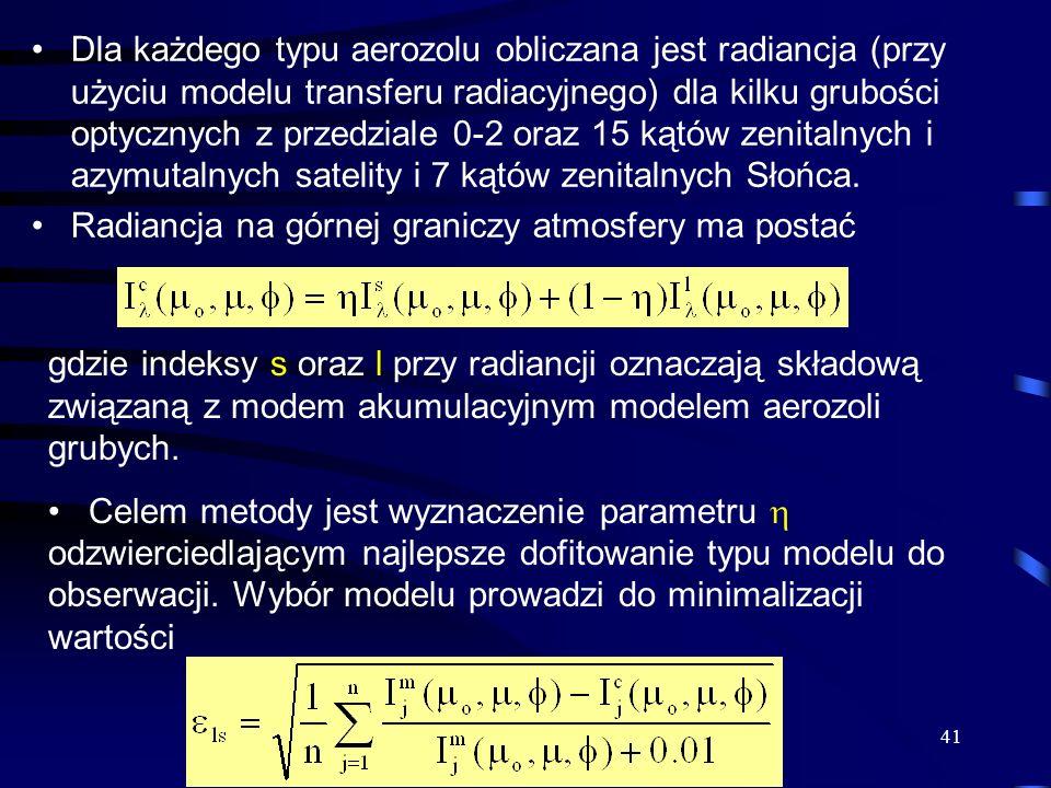 Dla każdego typu aerozolu obliczana jest radiancja (przy użyciu modelu transferu radiacyjnego) dla kilku grubości optycznych z przedziale 0-2 oraz 15 kątów zenitalnych i azymutalnych satelity i 7 kątów zenitalnych Słońca.