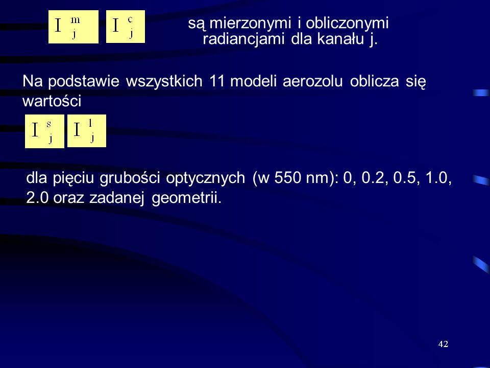 Na podstawie wszystkich 11 modeli aerozolu oblicza się wartości