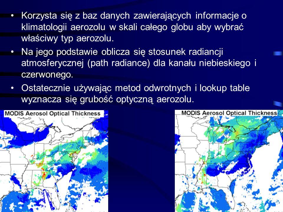 Korzysta się z baz danych zawierających informacje o klimatologii aerozolu w skali całego globu aby wybrać właściwy typ aerozolu.