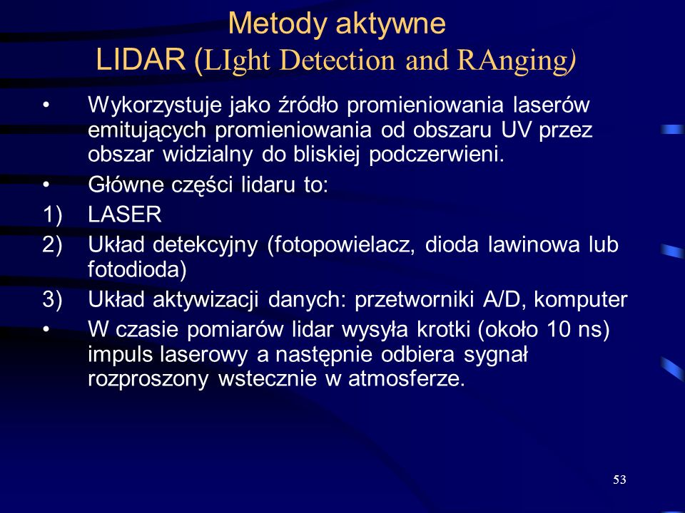 Metody aktywne LIDAR (LIght Detection and RAnging)