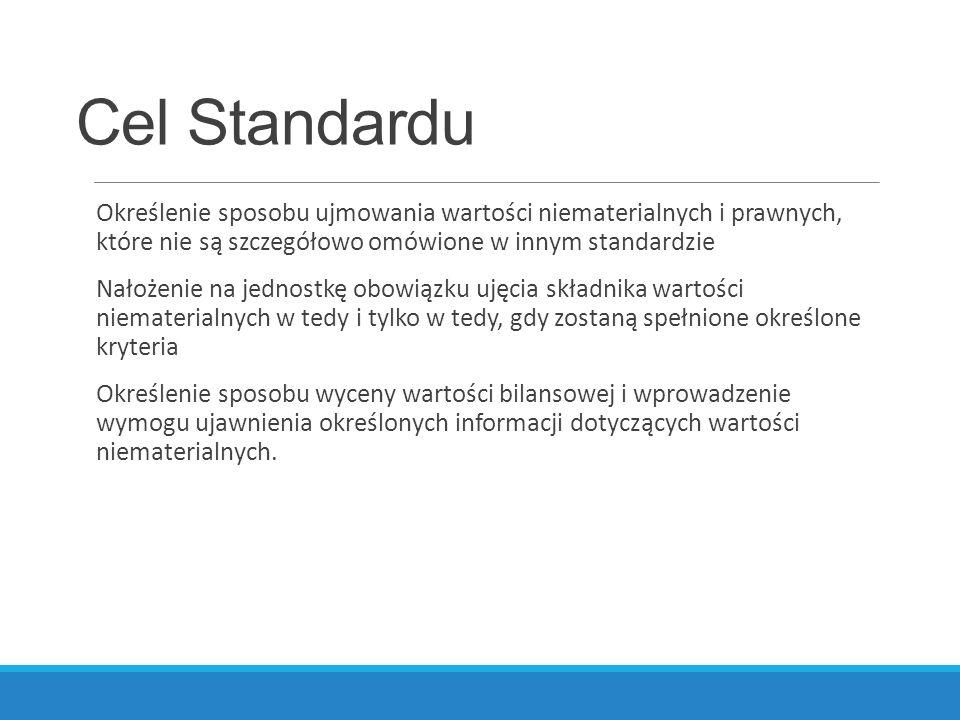 Cel Standardu Określenie sposobu ujmowania wartości niematerialnych i prawnych, które nie są szczegółowo omówione w innym standardzie.