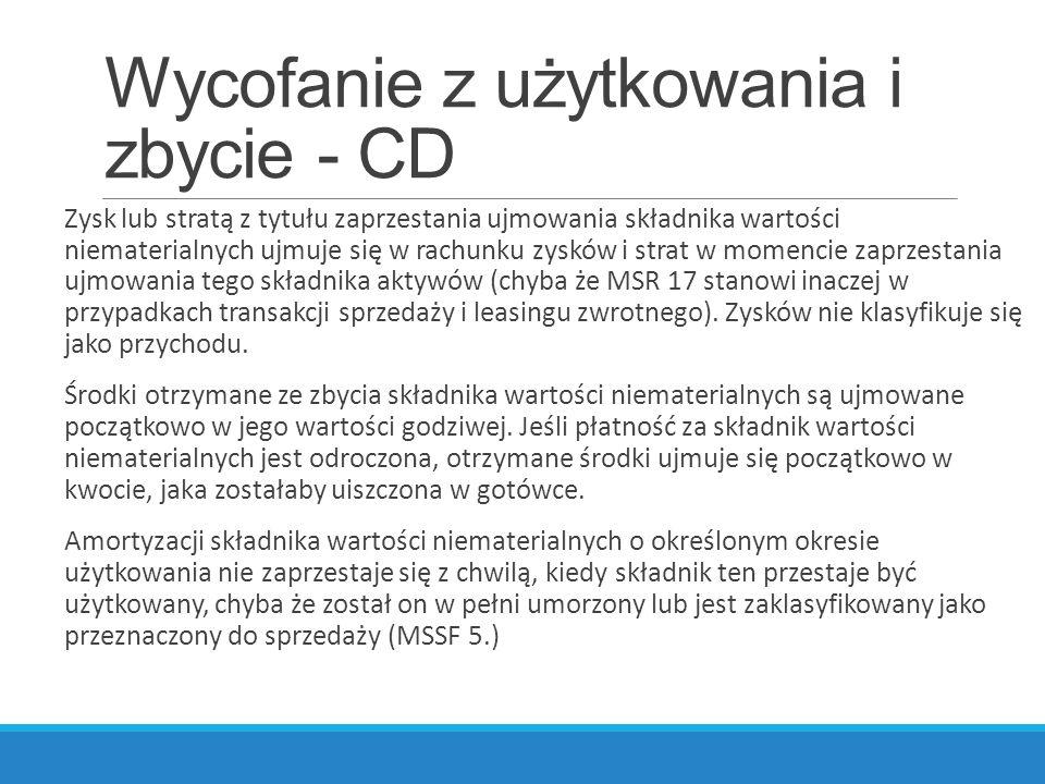 Wycofanie z użytkowania i zbycie - CD