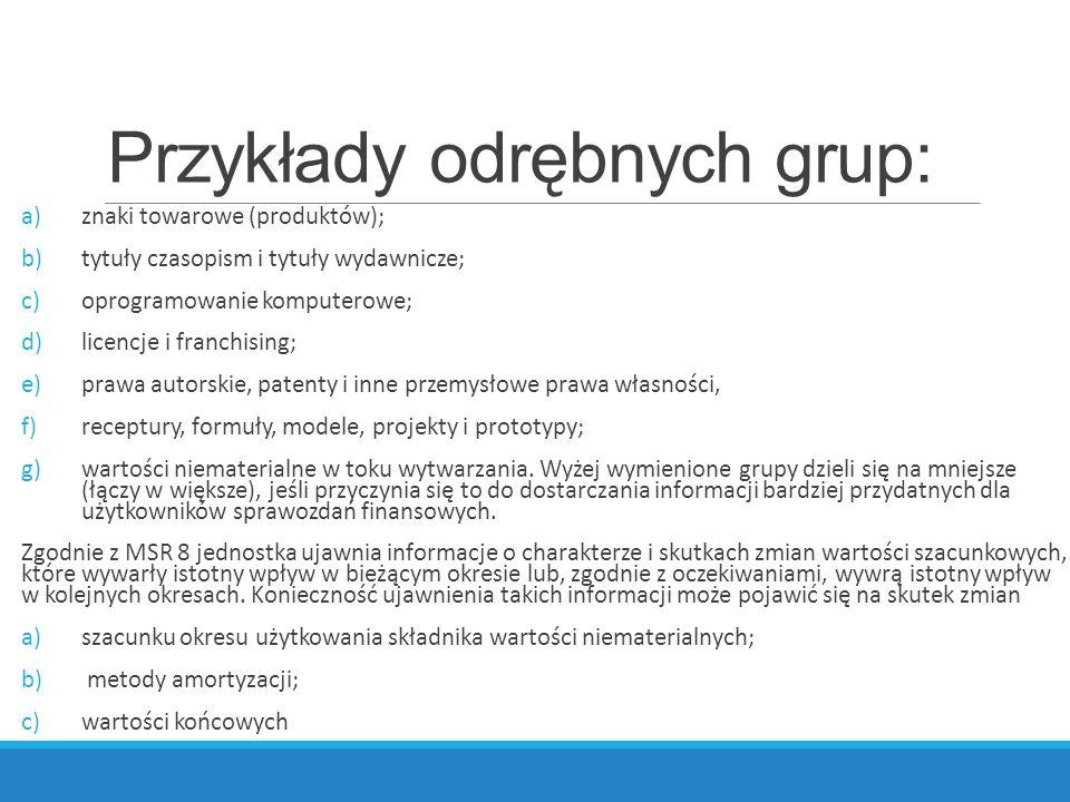 Przykłady odrębnych grup: