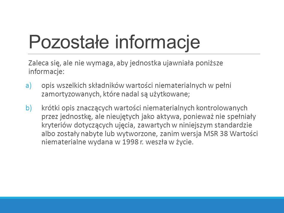 Pozostałe informacje Zaleca się, ale nie wymaga, aby jednostka ujawniała poniższe informacje: