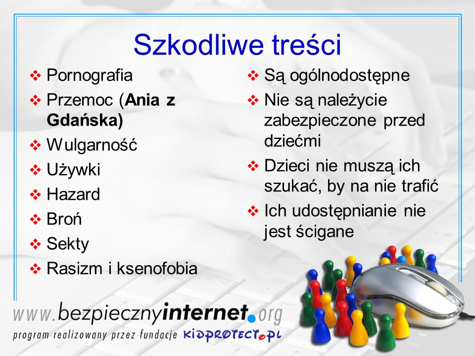Szkodliwe treści Pornografia Przemoc (Ania z Gdańska) Wulgarność