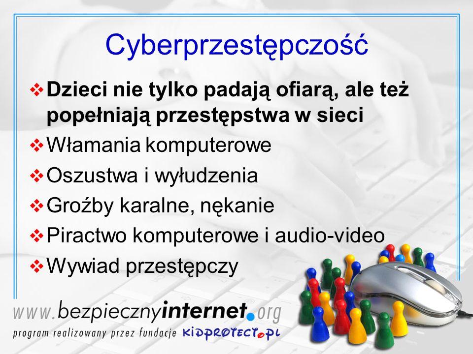 Cyberprzestępczość Dzieci nie tylko padają ofiarą, ale też popełniają przestępstwa w sieci. Włamania komputerowe.