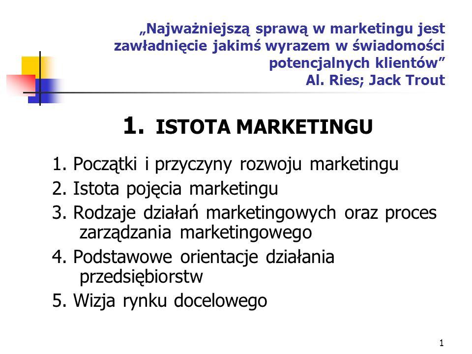 ISTOTA MARKETINGU 1. Początki i przyczyny rozwoju marketingu