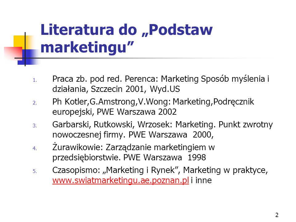 "Literatura do ""Podstaw marketingu"