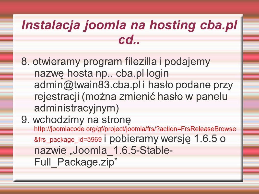 Instalacja joomla na hosting cba.pl cd..