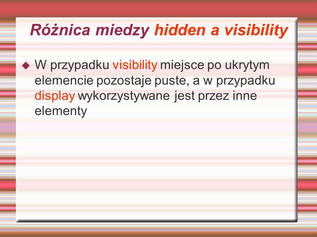 Różnica miedzy hidden a visibility