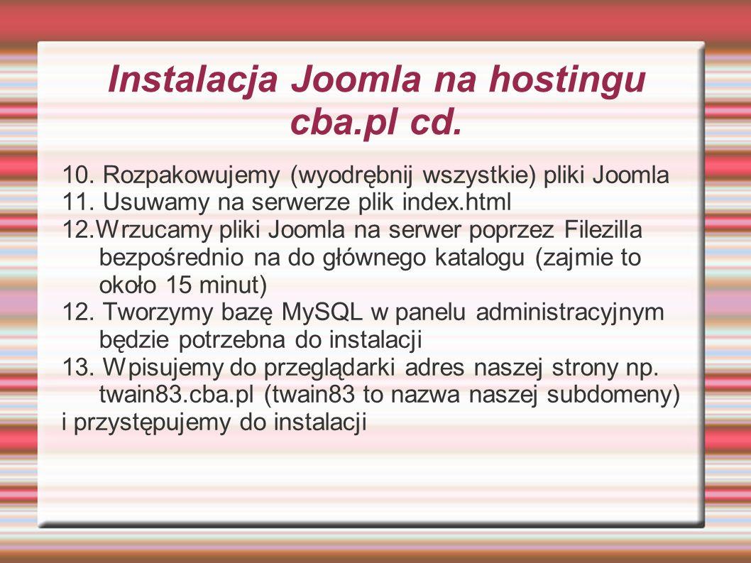 Instalacja Joomla na hostingu cba.pl cd.