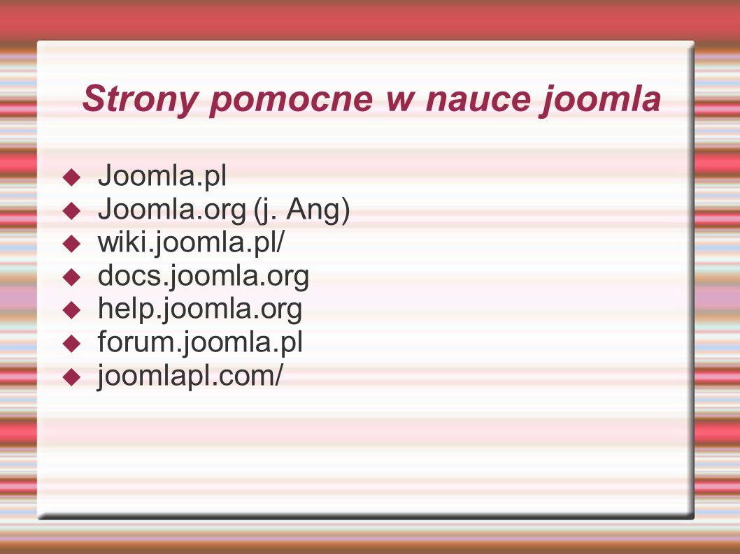 Strony pomocne w nauce joomla