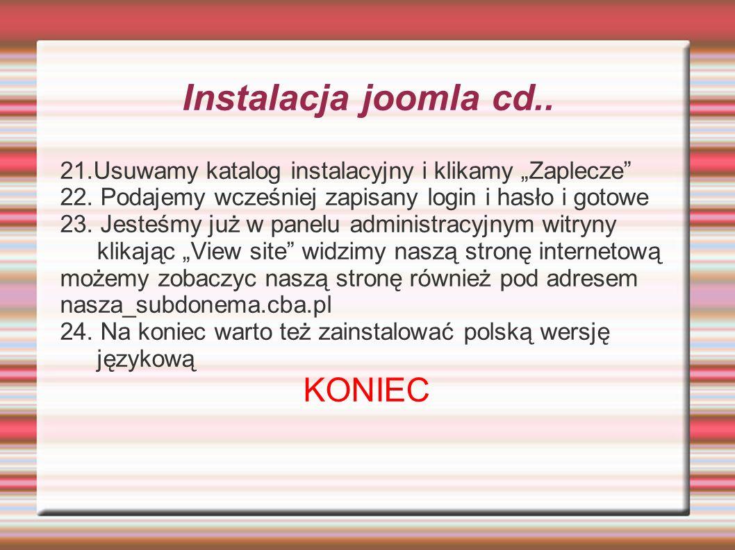 Instalacja joomla cd.. KONIEC