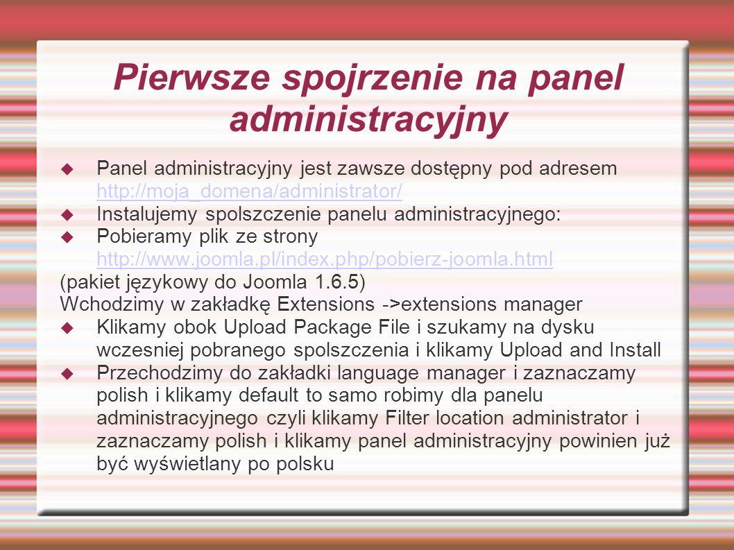 Pierwsze spojrzenie na panel administracyjny