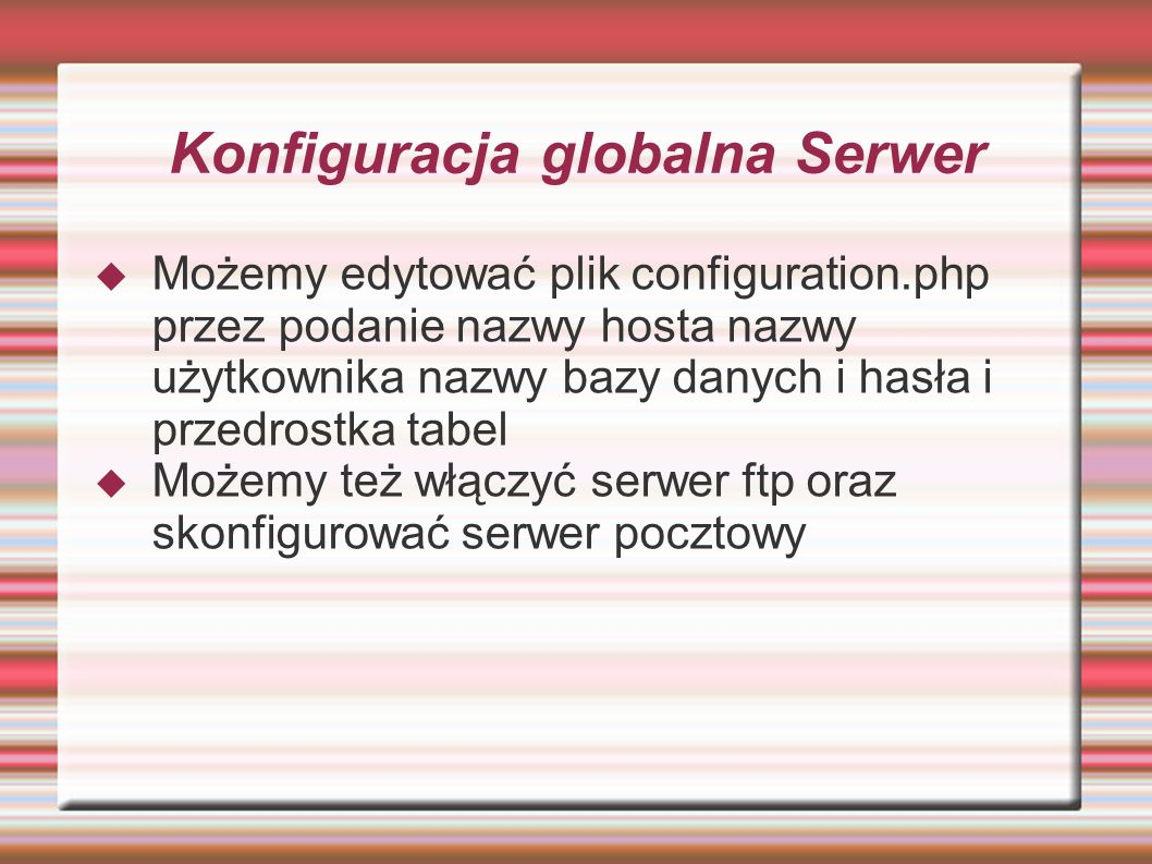 Konfiguracja globalna Serwer
