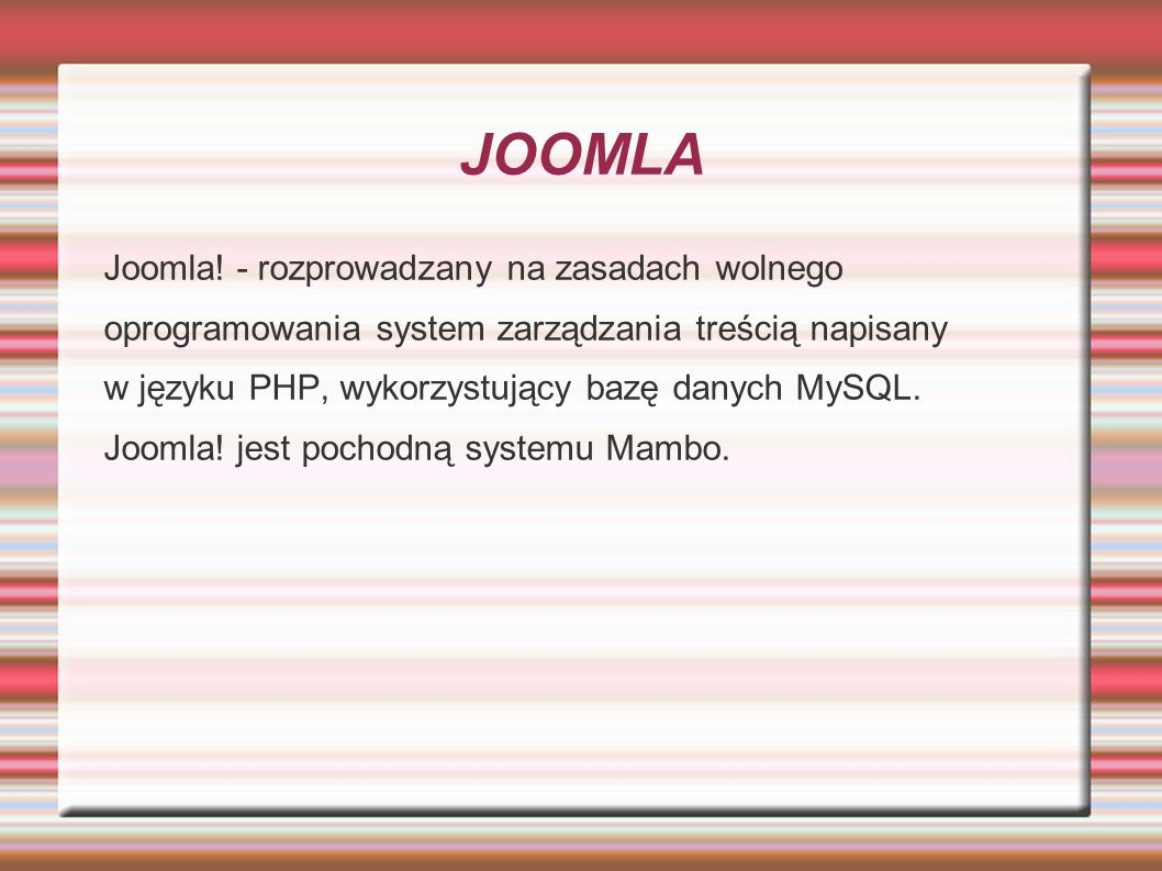 JOOMLA Joomla! - rozprowadzany na zasadach wolnego