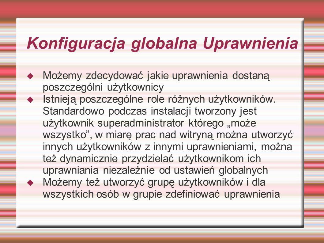 Konfiguracja globalna Uprawnienia