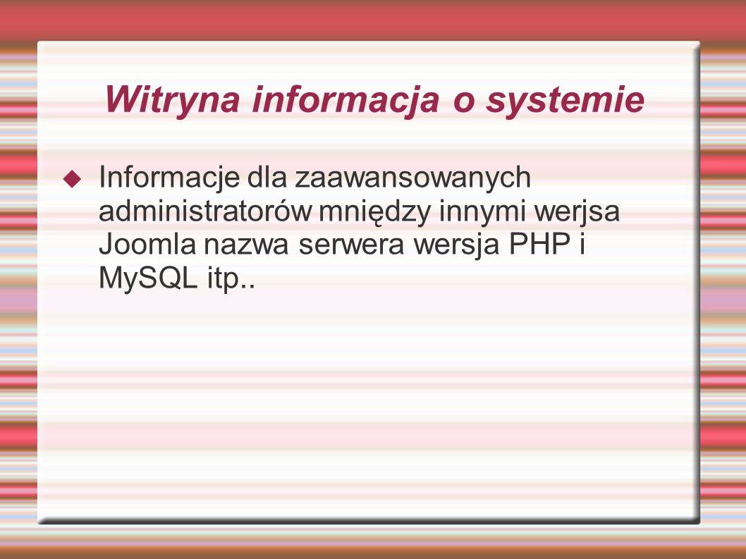 Witryna informacja o systemie